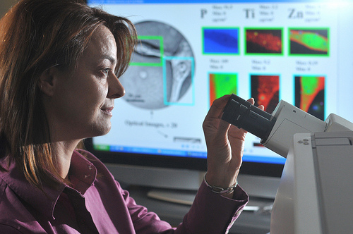 Argonne scientist Elena Rozhkova examines brain cancer cells under a microscope.  (Laboratory @ Flickr)